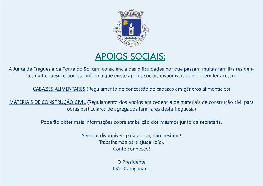 Informação sobre Apoios Sociais | Freguesia da Ponta do Sol