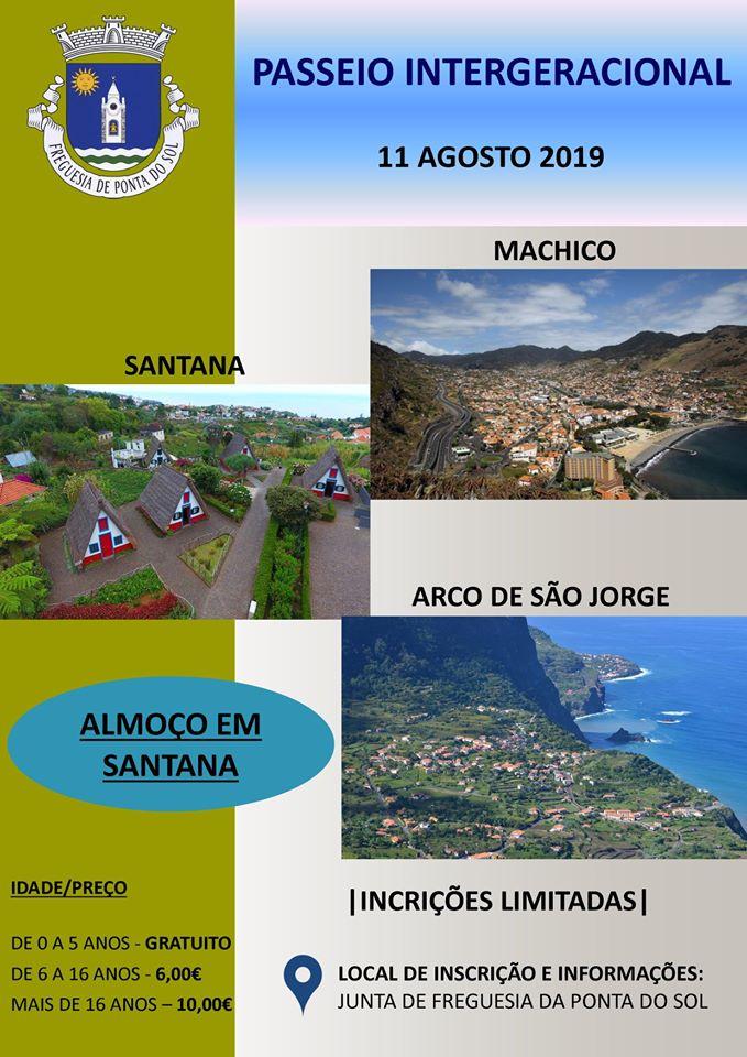 Inscrições Passeio Intergeracional de 11 de Agosto | Freguesia da Ponta do Sol