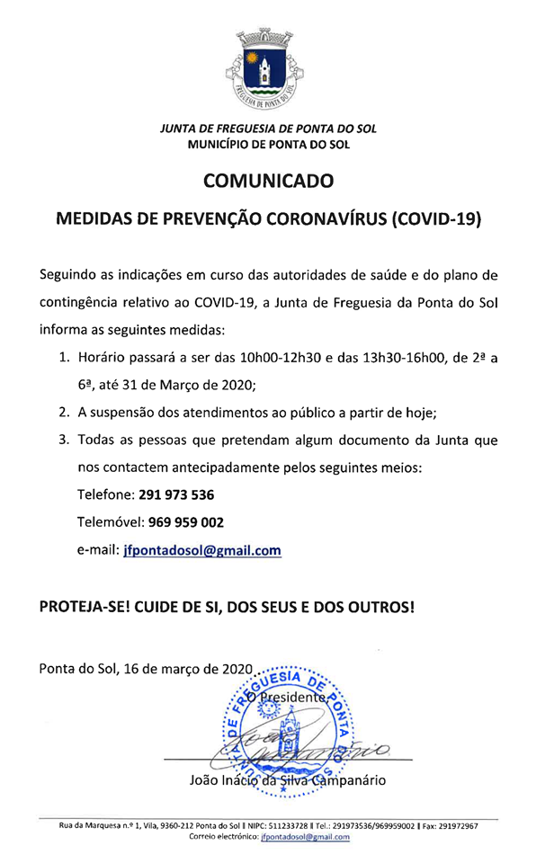 Comunicado | Medidas de prevenção - Covid 19