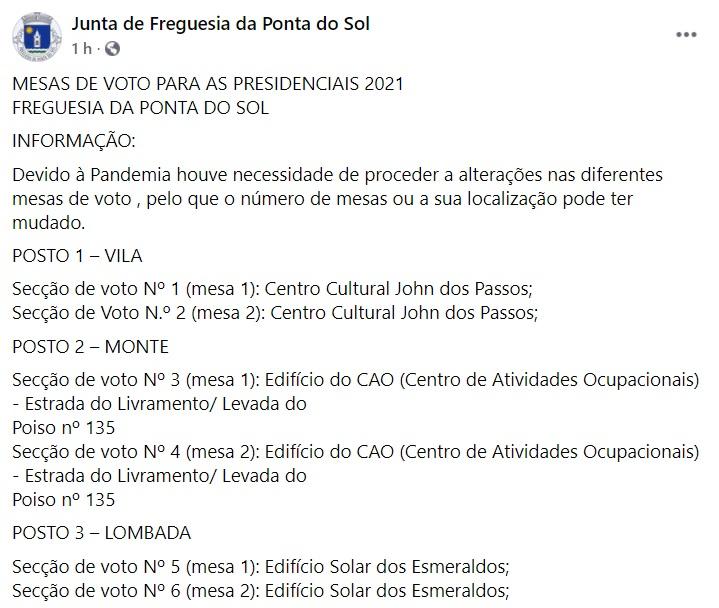 Mesas de voto para as Presidenciais 2021 | Freguesia da Ponta do Sol