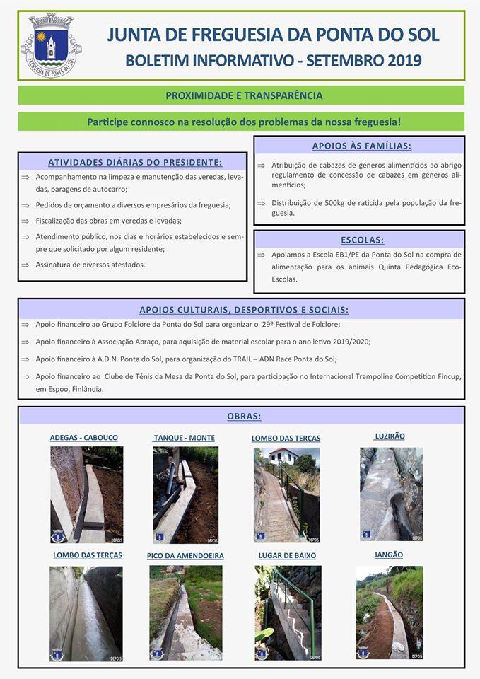 Boletim informativo | Setembro 2019 Freguesia da Ponta do Sol