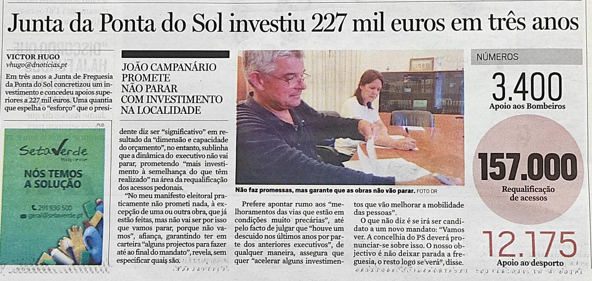 Junta de Freguesia da Ponta do Sol investiu 227 mil euros