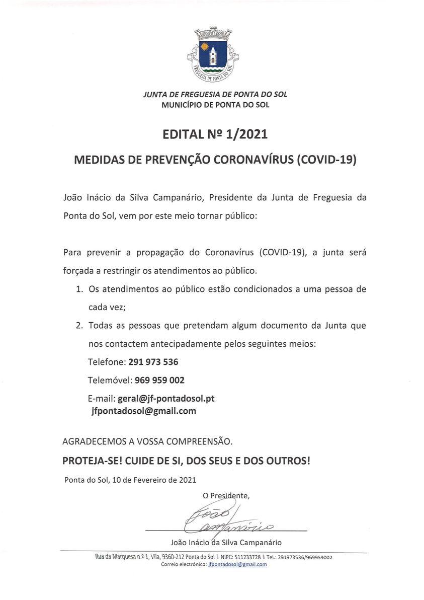 Medidas de Prevenção Covid-19 | edital n.º 1/2021